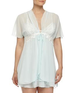 Elena Chiffon Short Robe, Blue Luster