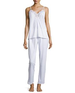 Cotton Cluny Lace-Trim Pajama Set, White
