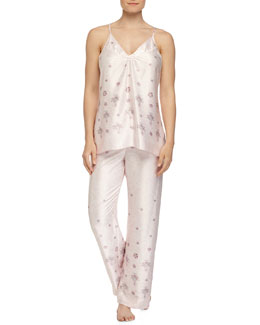 Jeweled Lace-Printed Satin Pajama Set, Pink