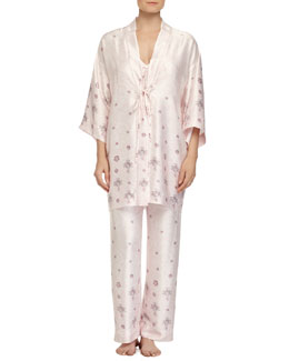 Jeweled Lace-Printed Satin Robe, Pink