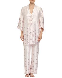 Jeweled Lace-Printed Satin Robe, Pink