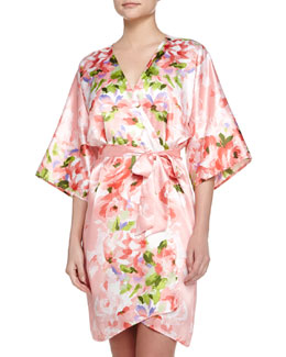 Garden Party-Print Short Wrap Robe, Pink
