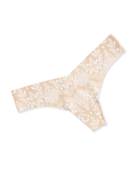 Commando Seamless Lace-Print Thong, Nude