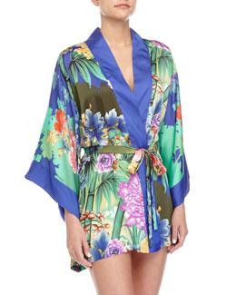 Tahiti Floral-Print Kimono Wrap Robe, Multi