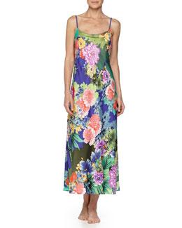 Tahiti Floral-Print Long Satin Gown, Multi