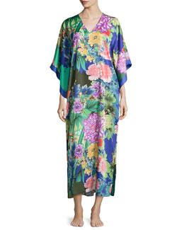 Tahiti Floral-Print Caftan, Multicolor