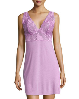 Zen Floral-Trim Chemise, Passion Purple