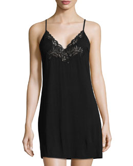Feathers Lace-Trim Chemise, Black