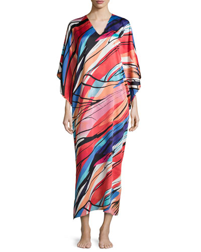 Fiji Abstract-Print Caftan, Multicolor