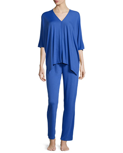 Shangri-La Tunic Pajama Set, Island Blue
