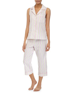 Seersucker Sleeveless Cropped Pajama Set