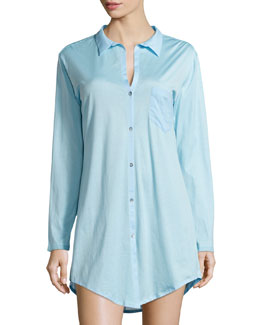 Cotton Deluxe Boyfriend Sleepshirt, Reef Blue