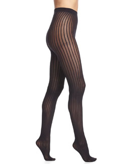 Stripe-Pattern Sheer Tights