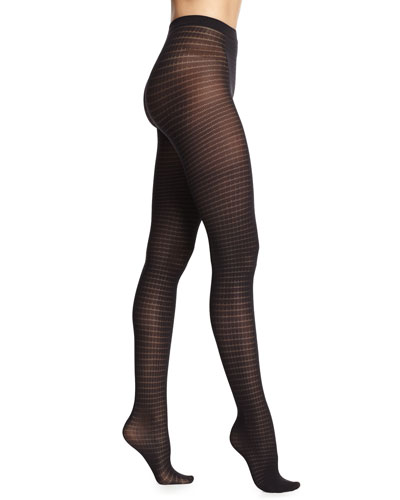 Aileen Check-Pattern Knit Tights, Black