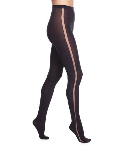 Claudia Tuxedo-Stripe Sheer Tights, Black