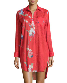 Sakura Cotton Floral-Print Sleepshirt, Red/Orange