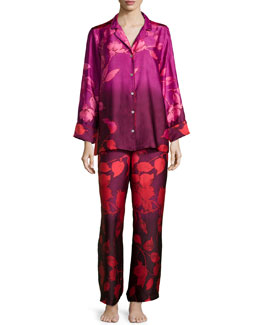 Sophia Floral-Print Long-Sleeve Pajama Set, Multi