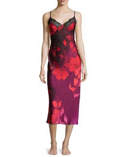 Sophia Floral-Print Lace-Trim Gown, Multi