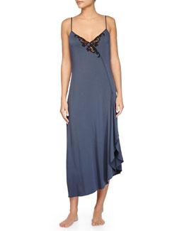 Primula Lace-Trim Long Gown, Light Blue