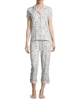 Butterfly-Print Pajama Set, Multi