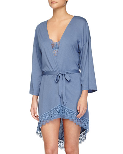 Edith Lace-Trim Short Robe, Blue Flower