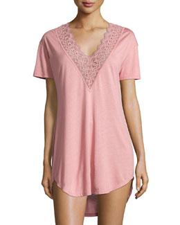 Edith Lace-Trim Short-Sleeve Sleepshirt, Tea Rose