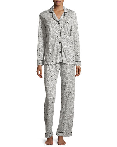 Bella Printed Long-Sleeve Pajama Set, Black/Light Gray