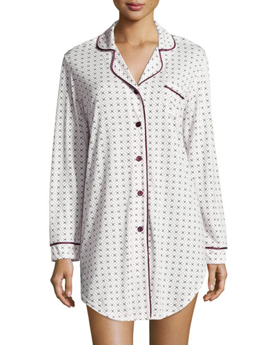 Bella Diamond-Print Long-Sleeve Sleepshirt, Ivory/Mulberry