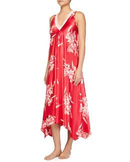 Spanish Lilly Floral-Print Long Gown, Pink