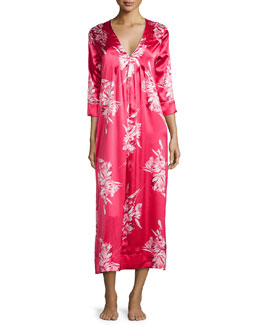 Spanish Lily Printed V-Neck Caftan, Pink