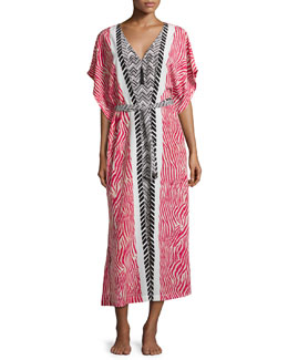 Sahara Printed Zip Caftan, Red