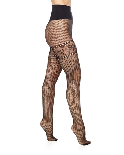 Left Bank Net Sheer Tights, Black