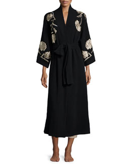 Embroidered Cashmere Robe, Black