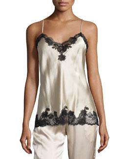 Lace-Trimmed Silk Cami, Skin/Black