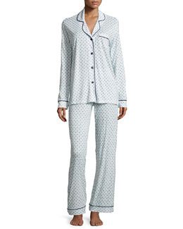 Bella Paisley Long-Sleeve Pajama Set, Marine Blue