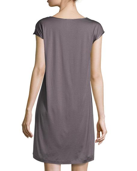 Savona Lace-Yoke Cap-Sleeve Gown, Sparrow