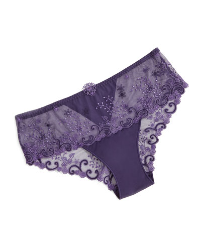 Delice Floral-Embroidered Boyshorts, Amethyst