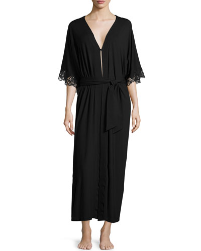 Petit Macrame Jersey Long Robe, Black