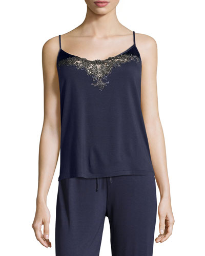 Primula Metallic-Lace Camisole, Blue