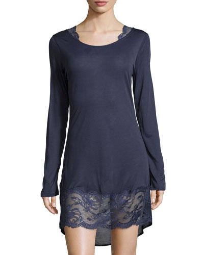 Begonia Long-Sleeve Sleepshirt, Blue