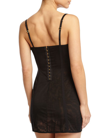 Eva Lace and Mesh Chemise, Black