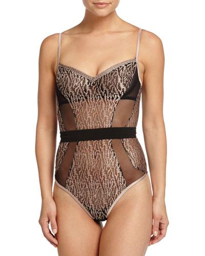 Chic Feline-Print Bodysuit, Black/Blush