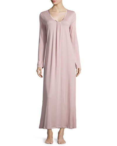 Astrid Long-Sleeve Knit Gown, Rose Dust