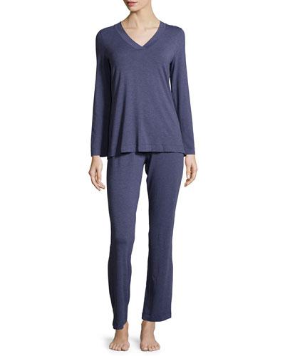 Champagne V-Neck Pajama Set, Infinity Melange