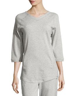Yoga Fashion 3/4-Sleeve V-Neck Sweatshirt, Light Gray