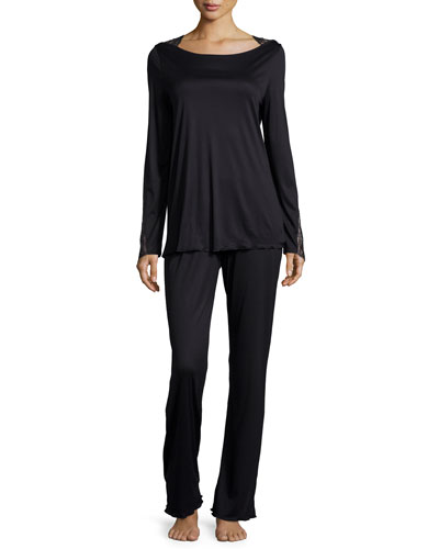 Constance Lace-Trim Long-Sleeve Pajama Set, Black