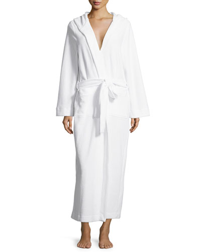 Long Hooded Plush Robe, White