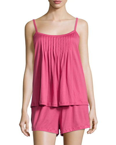 Juliet Pintucked Shorty Pajama Set, Very Berry