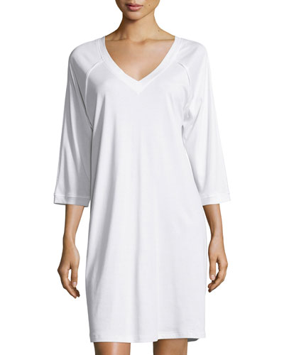Pure Essence 3/4-Sleeve Gown, Off White