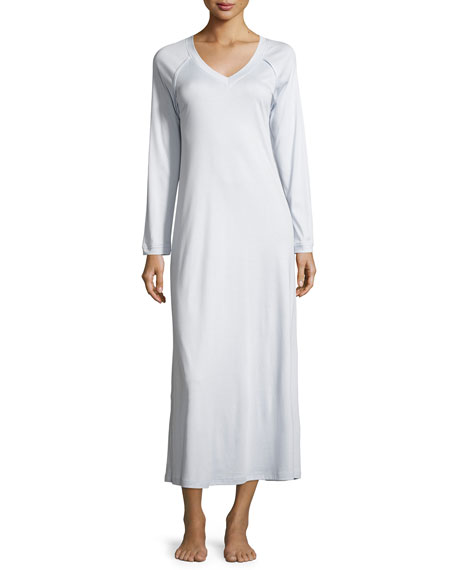 Hanro Pure Essence Long-Sleeve Gown, Blue Glow